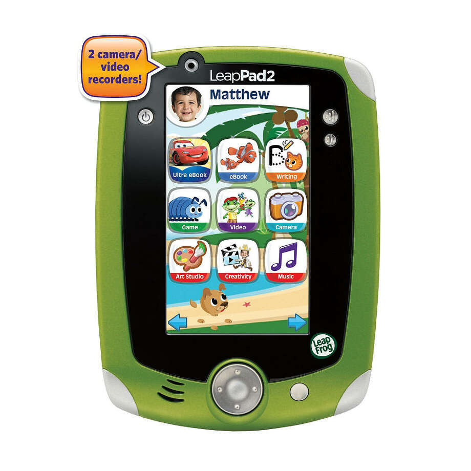 LeapFrog LeapPad2 Explorer Learning Tablet, $99.99, ages 3-9. This tricked-out kiddie computer with a touch-screen and built-in camera comes with five educational games that can be tailored to your child's reading level. Buy additional games from a library of 325 cartridges.