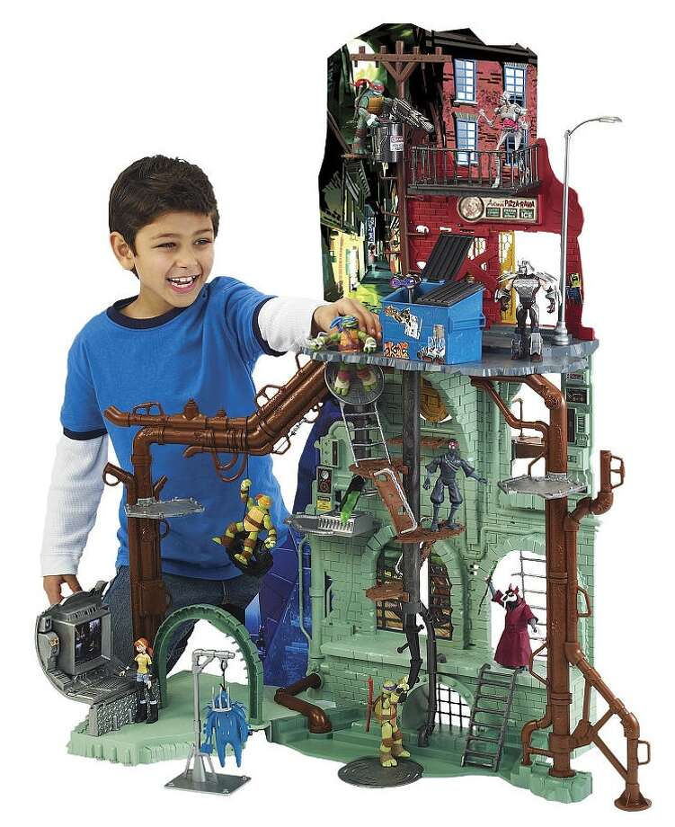 Teenage Mutant Ninja Turtles Secret Sewer Lair Playset, $119.99, ages 4 and up. This playset is BIG, and ready for Ninja battle action! It's just like the Lair that is home to the Turtles in the TV show.