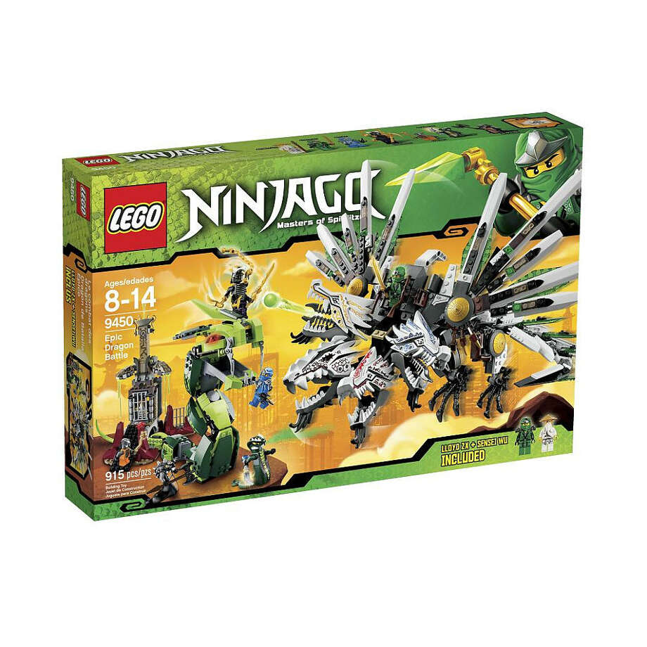 Lego Ninjago Epic Dragon Battle, $129.99, ages 8-14. With this set, Lego builders can create an epic Ninja battle by building a four-headed dragon, a snake prison, and more.