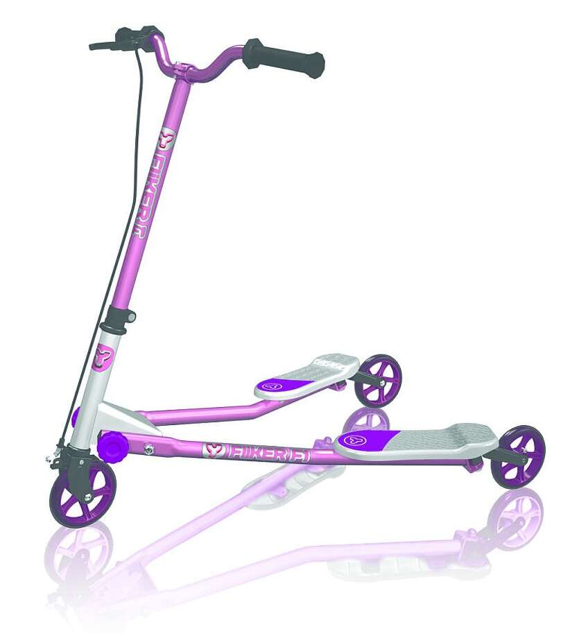 Y-Volution YFliker F1 Scooter, $99.99, ages 5-9. This lightweight steel scooter offers a different experience from the traditional kick scooter and allows you to swerve from side to side.