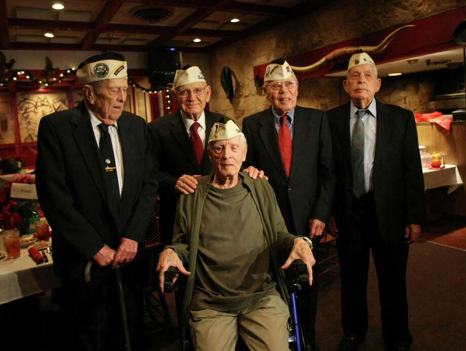 (L-R) Harry Brooks, 92, William St. John, 91, Richard Anderson, 90, Gene Camp, 92, Kenneth Platt 91 are Pearl Harbor survivors. The group meets yearly to commemorate the anniversary of the bombing of Pearl Harbor. Photo: Helen L. Montoya, San Antonio Express-News / ©SAN ANTONIO EXPRESS-NEWS