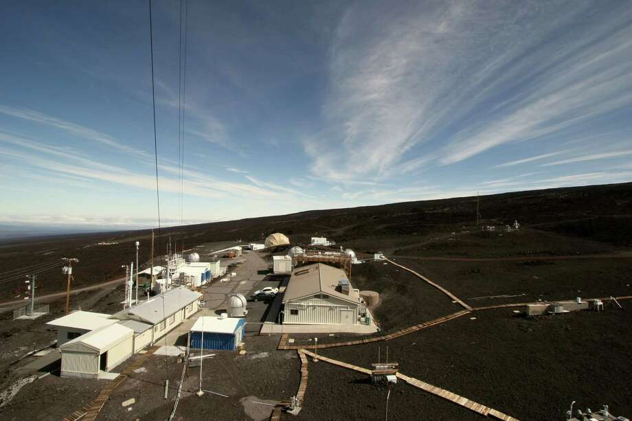 An elevated photo of the Mauna Loa Observatory compound. The site began as an unmanned weather station atop the volcano. Photo: Forrest M. Mims III, For The Express-News