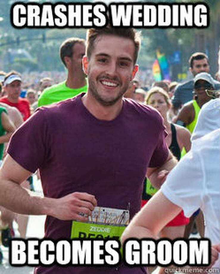 """Ridiculously photogenic guy"" emerged in March, after someone posted a picture of Zeddie Little running a marathon in South Carolina. Photo: quickmeme.com"