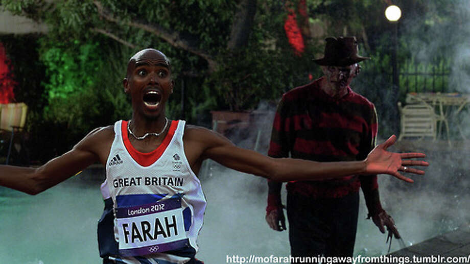 British track star Mo Farah's stunned, elated face after winning the 5,000-meter at the summer Olympics gave rise to this meme and others involving other silliness.  Photo: Mo Farah Running Away From Things Tumblr