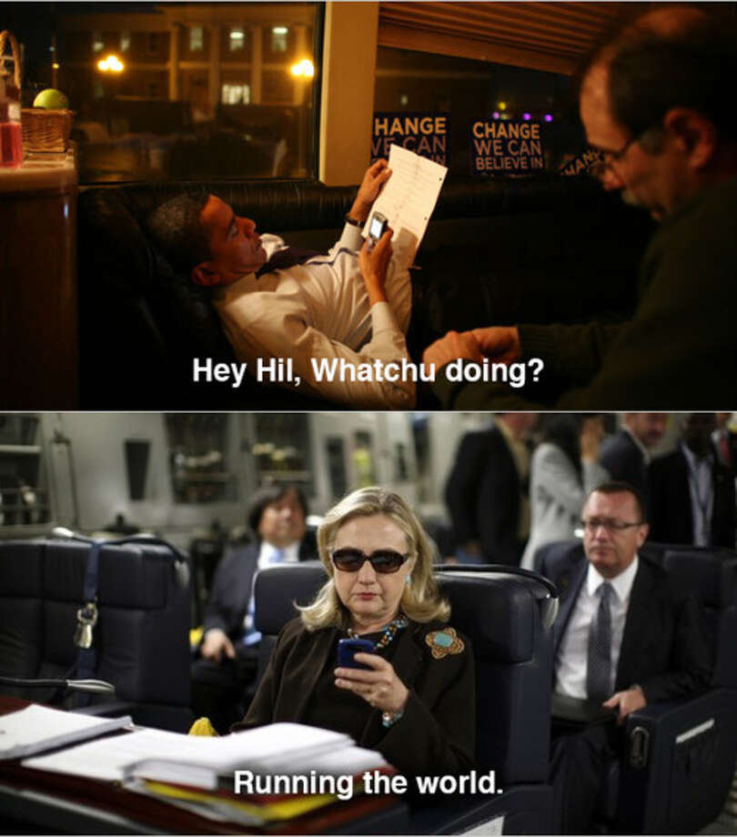 """Texts from Hillary"" showed up in April, with the Secretary of State looking badass on her phone in a military C-17 plane to Libya. Via Texts From Hillary tumblr. Original Clinton image by Diana Walker for Time.  / X00157"