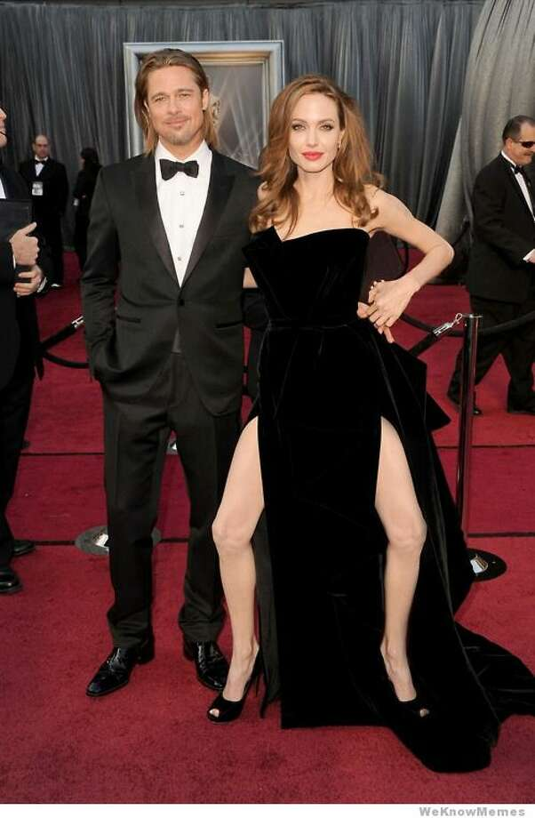 For about a minute - the lifespan of most memes - Angelina Jolie's awkward leg pose at the Academy Awards in February gave way to this double-limbed gag. Photo: ZipMeme.com