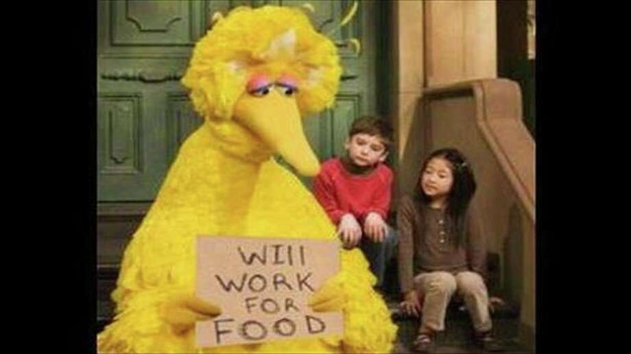There was also sad, out-of-work Big Bird.  Photo: .