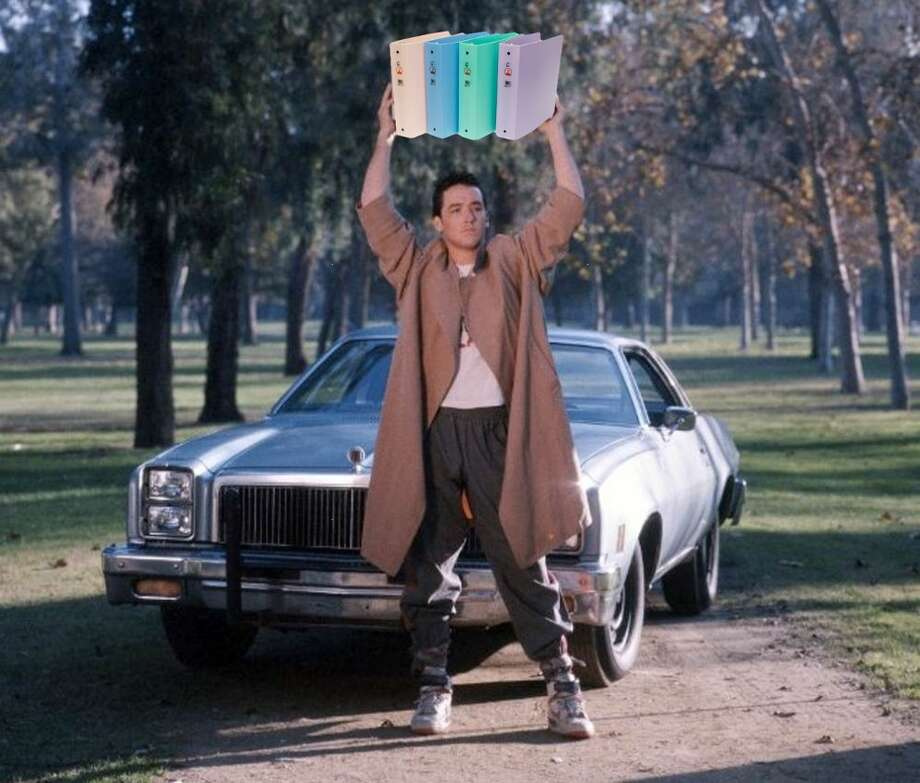 "A favorite: ""Say Anything's"" Lloyd Dobler holding Romney's ""binders full of women"" instead of a boom box. What did it mean? Not sure, but those binders sure look good up there. Photo: Binders Full Of Women Tumblr"
