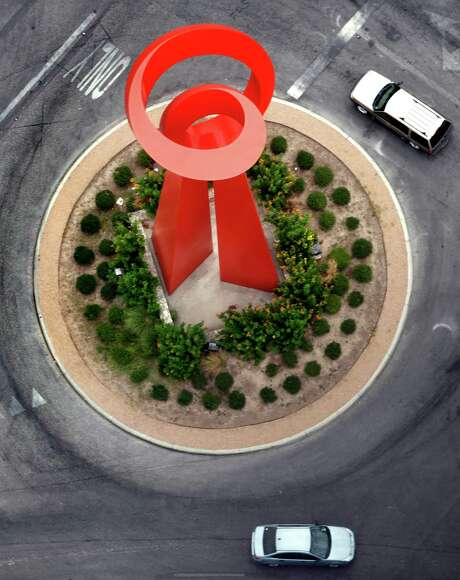 The Torch of Friendship at the intersection of Alamo, Commerce, and Market Streets in downtown San Antonio, Texas is seen in a Friday July 1, 2011 aerial photo  (William Luther/wluther@express-news.net) Photo: WILLIAM LUTHER, SAN ANTONIO EXPRESS-NEWS / 2011 SAN ANTONIO EXPRESS-NEWS