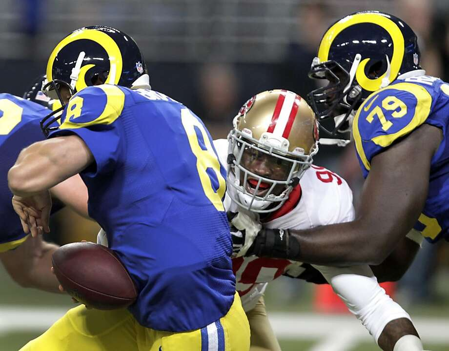 Aldon Smith of the 49ers is just five sacks short of the single-season record with four games to play. Photo: Tom Gannam, Associated Press