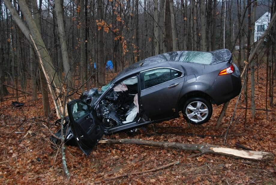 The driver of this car suffered multiple injuries in a crash on  Thatcher Park Road near Indian Ledge Road in the town of New Scotland Friday.   (Thomas Heffernan Sr./Special to the Times Union) Photo: Picasa