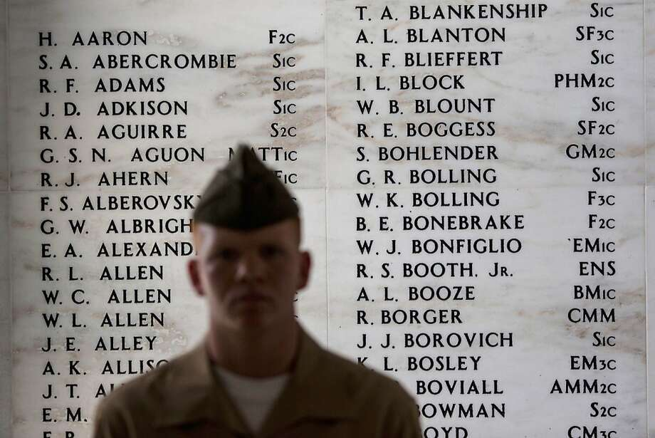 PEARL HARBOR, HAWAII - DECEMBER 7:   Names sit etched on the Remembrance Wall in the shrine room of the U.S.S. Arizona Memorial at the 71st Annual Memorial Ceremony commemorating the WWII Attack On Pearl Harbor at the World War 2 Valor in the Pacific National Monument December 7, 2012 in Pearl Harbor, Hawaii. This is the 71st anniversary of the Japanese attack on pearl Harbor.  (Photo by Kent Nishimura/Getty Images)  *** BESTPIX *** Photo: Kent Nishimura, Getty Images