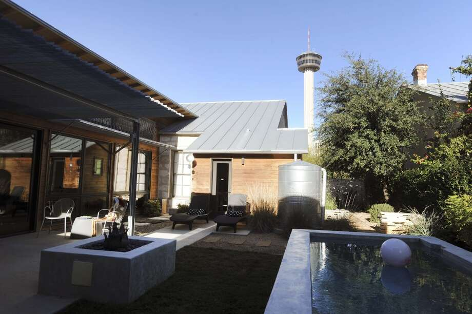 The Tower of the Americas in visible from the backyard of the home of Jerry and Samantha Gore. (Billy Calzada / San Antonio Express-News)