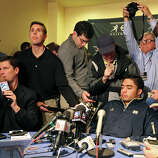Heisman finalists Notre Dame's linebacker Manti Te'o (center right) answers questions from the media during a press conference Friday Dec. 7, 2012 at the New York Marriott Marquis hotel in New York, New York.