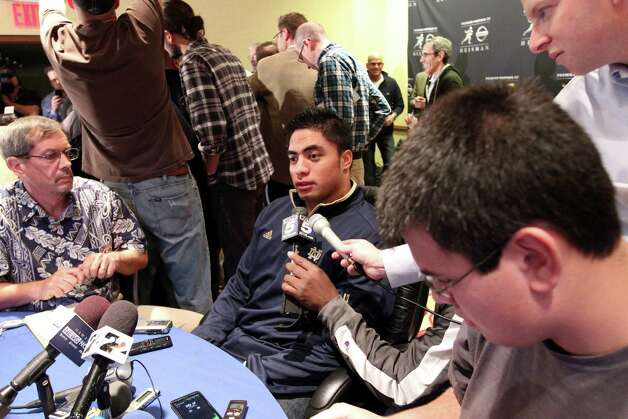 Notre Dame linebacker Manti Te'o, a Heisman Trophy finalist, speaks to reporters during a media availability, Friday, Dec. 7, 2012 in New York.  (AP Photo/Mary Altaffer) Photo: Mary Altaffer