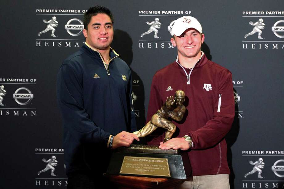 As it turns out, Notre Dame senior linebacker Manti Te'o, left, and Texas A&M freshman quarterback Johnny Manziel, have a lot in common. Photo: Mary Altaffer, STF / AP