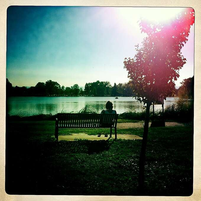 A woman looks out over a lake, where I often walked with Quinn. Photo: Jamie Cotten