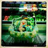 Quinn and I spend a lot of time grocery shopping, and though it's a process, I love how he makes me smile as I walk the food aisles. I remember the first time I went to the store without him, it took me like a half an hour less to do all my shopping, and I felt 50 pounds lighter. But of course I missed his cooing and keeping me company.