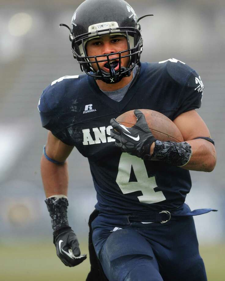 Ansonia's Andrew Matos scores a touchdown during the Class S state football championship game against North Branford Saturday, Dec. 8, 2012 at Rentschler Field in East Hartford, Conn. Photo: Autumn Driscoll / Connecticut Post