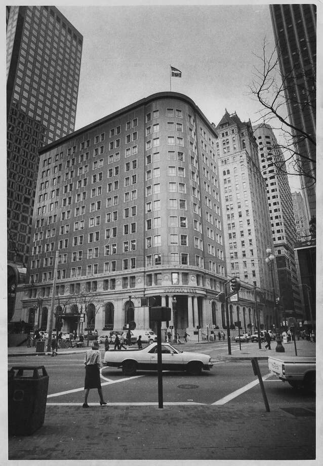 Until 1983, the Willis Polk-designed office block at 1 Montgomery St. was 12 stories tall. That's when the 10 floors above the base were removed from the 1908 building, with the new roof doubling as a landscaped plaza. Photo: Susan Gilbert