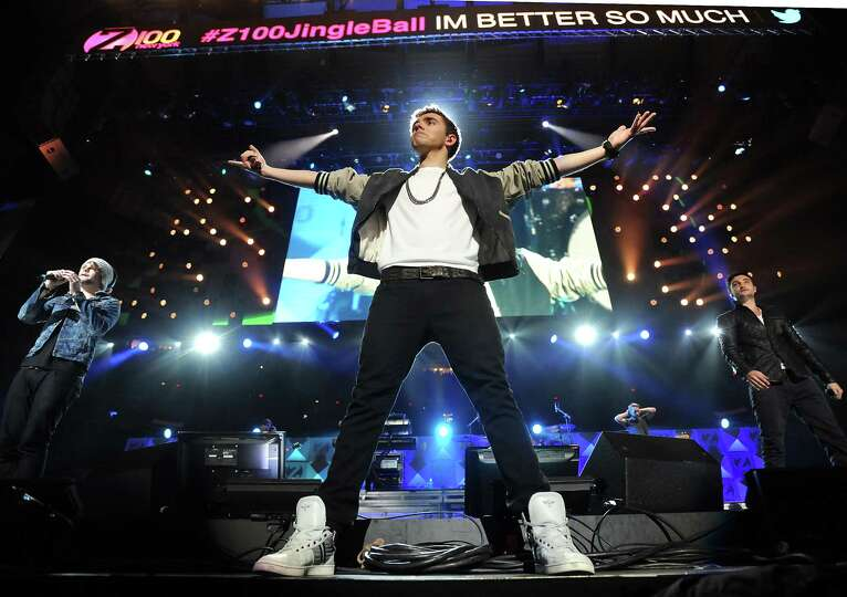 Singer Nathan Sykes, center, and the rest of the group The Wanted perform at Z100's Jingle Ball 2012