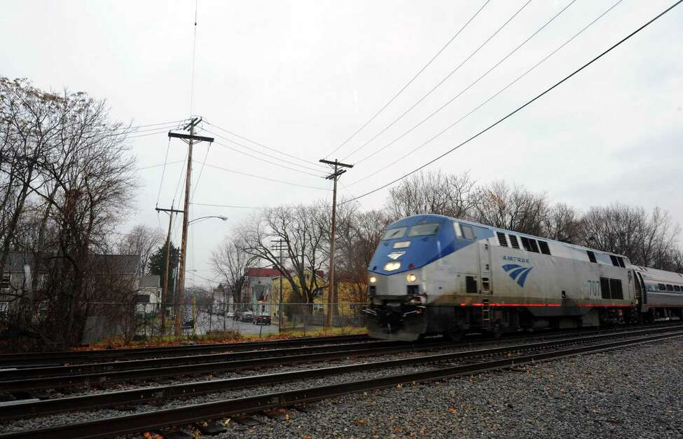 An Amtrak train travels south from the Albany-Rensselaer Station Friday, Dec. 7, 2012, in Rensselaer, NY Friday Dec. 7, 2012. (Michael P. Farrell/Times Union archive)