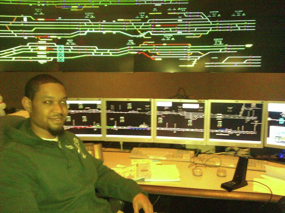 Dustin Hulen, a dispatcher with Amtrak in Manhattan, was overseeing train movements on Amtrak's Hudson Line Thursday. (Eric Anderson / Times Union)