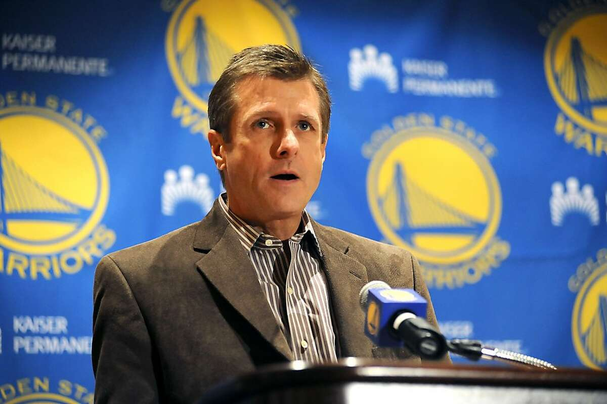 Golden State Warriors President & Chief Operating Officer Rick Welts reads a prepared statement to the assembled media at The Oakland Marriott in Downtown Oakland, CA Wednesday December 21st, 2011.