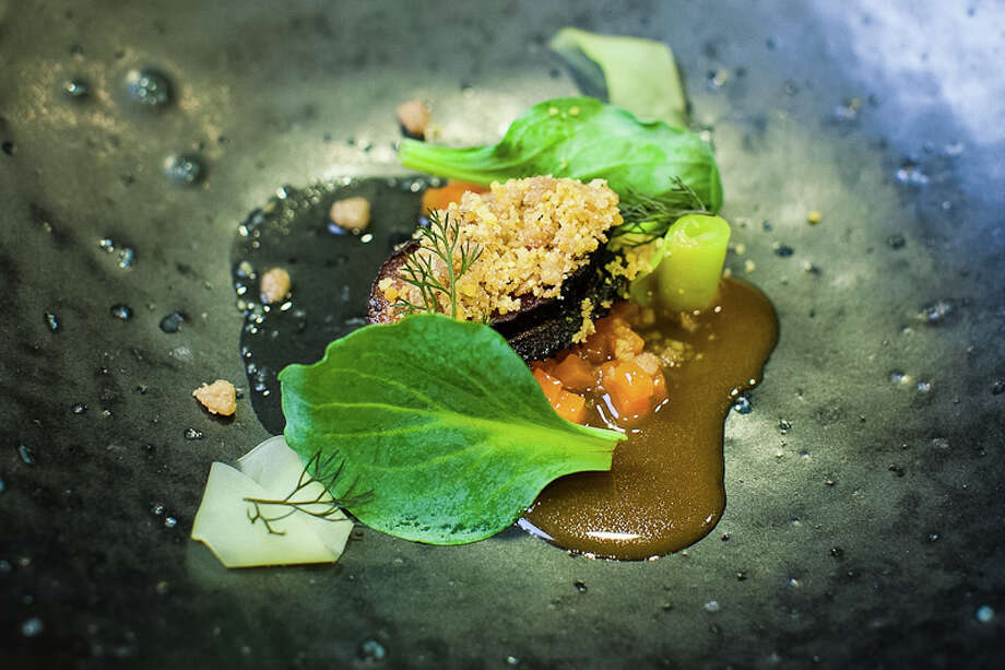 Third Course: Winter squash consommé, Monterey abalone, chicken skin, broccoli. By Anderson. (Creel Films)