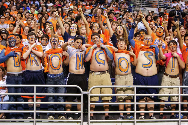 Brandeis fans cheer for the Broncos during their Class 5A Division II state quarterfinal game with Steele at the Alamodome on Dec. 8, 2012.  MARVIN PFEIFFER/ mpfeiffer@express-news.net Photo: MARVIN PFEIFFER, For The Express-News / Express-News 2012