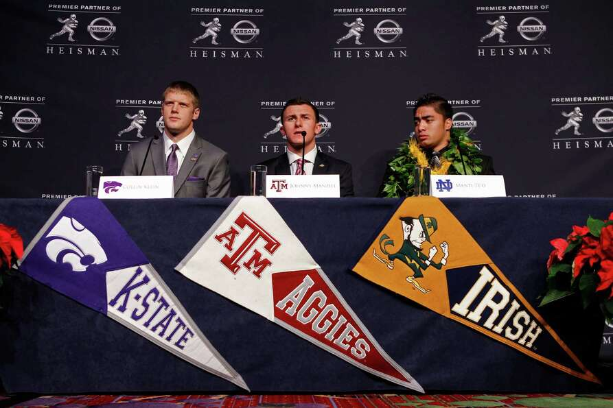NEW YORK, NY - DECEMBER 08:  (L-R) Heisman finalists quarterback Collin Klein of the Kansas State Wi