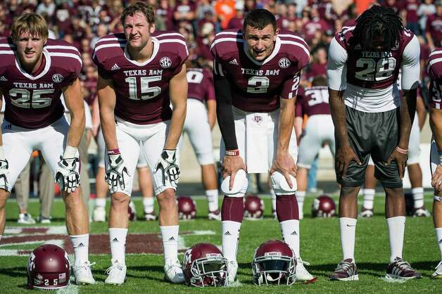 Texas A&M quarterback Johnny Manziel (2) on the field before facing Sam Houston State  at Kyle Field, Saturday, Nov. 17, 2012, in College Station. ( Smiley N. Pool / Houston Chronicle ) Photo: Smiley N. Pool, Staff / © 2012  Houston Chronicle