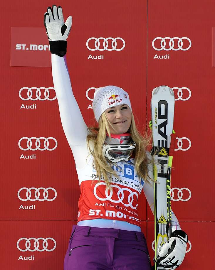 "Lindsey Vonn admits to cursing after winning a super-G race in Switzerland, but said it was simply a form of relief and not ""unsportsmanlike behavior."" Photo: Giovanni Auletta, Associated Press"