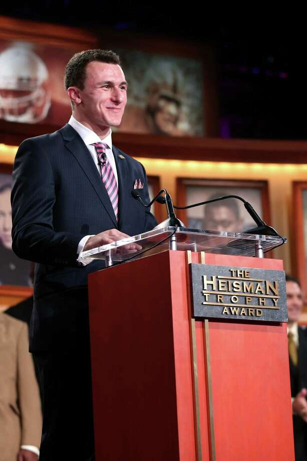 NEW YORK, NY - DECEMBER 08:  Quarterback Johnny Manziel of the Texas A&M University Aggies speaks after being named the 78th Heisman Memorial Trophy Award winner at the Best Buy Theater on December 8, 2012 in New York City. NOTE TO USER: Photos are for editorial usage only from December 8th to 22nd. No sales, no archive. Photo: Handout, Getty Images For The Heisman Tru / 2012 Kelly Kline