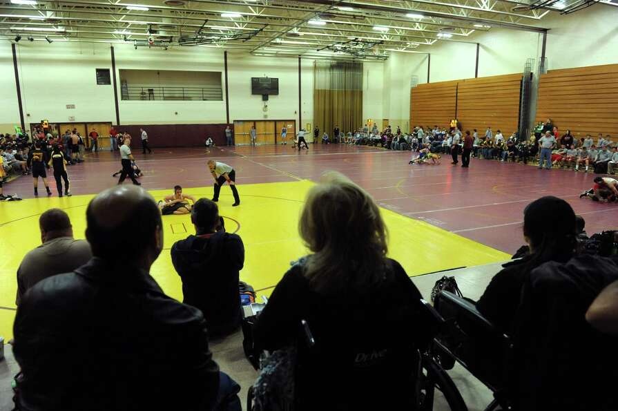 Regional high school wrestlers compete during the Linda Stuart Duals Tournament at Colonie High Scho