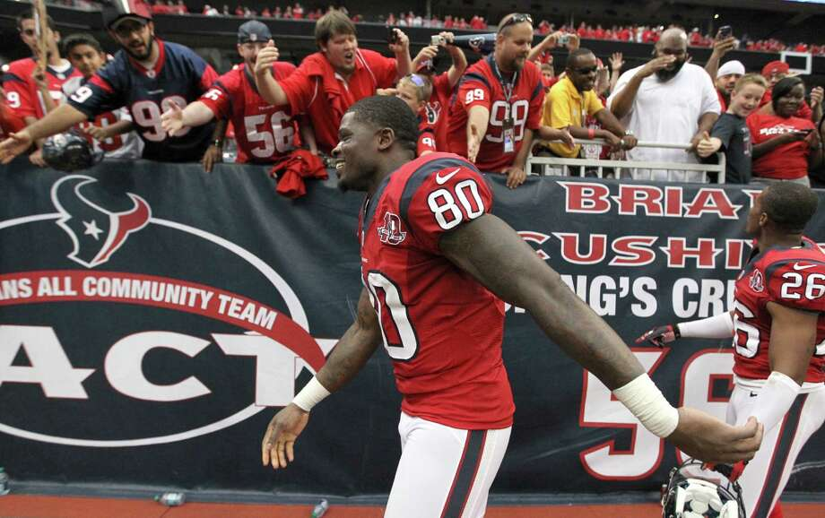 As someone who has been through thick and thin with the Texans, receiver Andre Johnson has seen the expectations from players and fans go from just winning a game to becoming a Super Bowl contender. Photo: Karen Warren, Staff / © 2012  Houston Chronicle