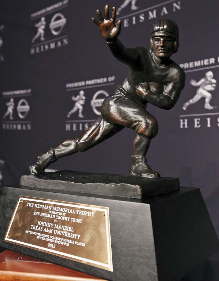 View of the 2012 Heisman Memorial Trophy won by Texas A&M's quarterback Johnny Manziel Saturday Dec. 8, 2012 at the New York Marriott Marquis hotel in New York, New York.