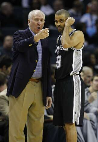 San Antonio Spurs head coach Gregg Popovich, left talks with Tony Parker, right, during the first half of an NBA basketball game against the Charlotte Bobcats in Charlotte, N.C., Saturday, Dec. 8, 2012. (AP Photo/Chuck Burton) (Associated Press)