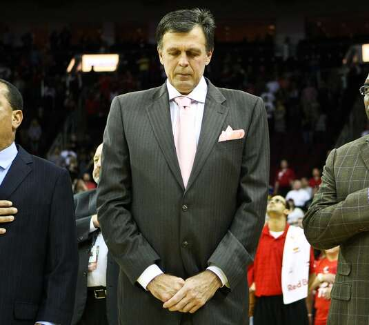 Kevin McHale stands for the National Anthem. (Nick de la Torre  / Houston Chronicle)