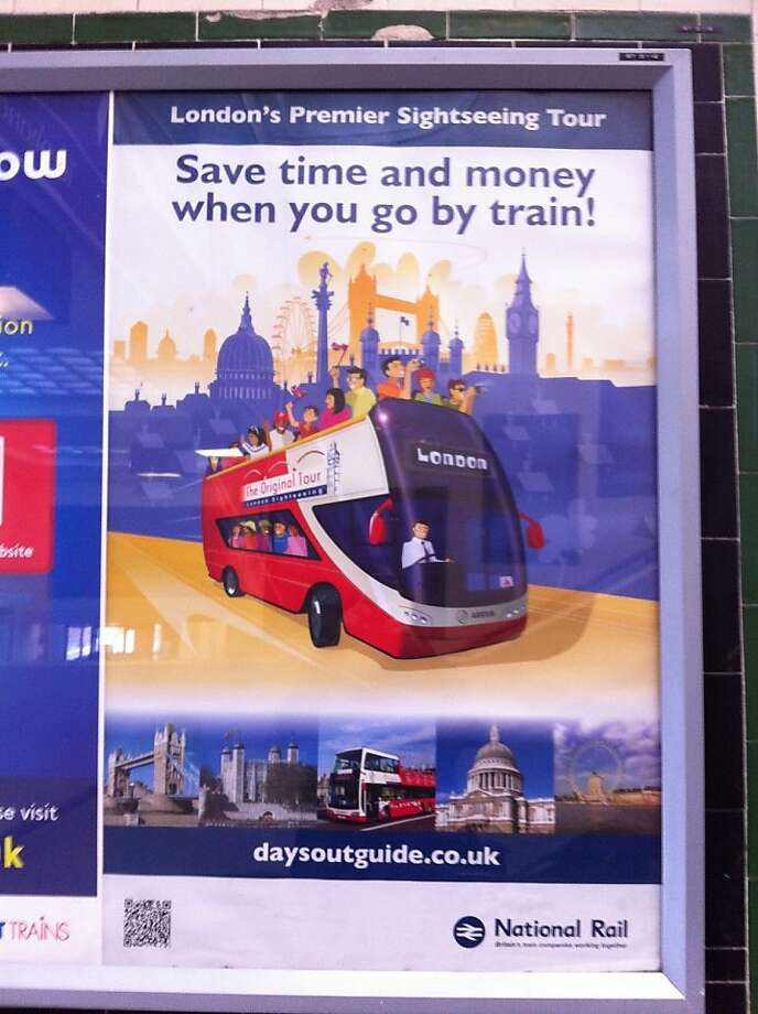 The designer behind this campaign for Britain's National Rail used artistic freedom just a tad - or can't tell the difference between a bus and a train. Photo: Marvellover/signspotting.com