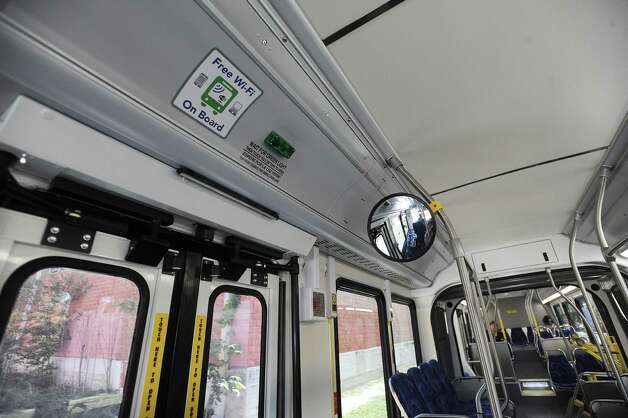 VIA Metropolitan Transit's new articulated buses to be used in the VIA Primo rapid transit program are equipped with free wifi internet technology. Photo: Billy Calzada, San Antonio Express-News / SAN ANTONIO EXPRESS-NEWS
