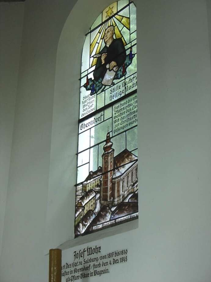 Silent Night Memorial Chapel window honoring Joseph Mohr.