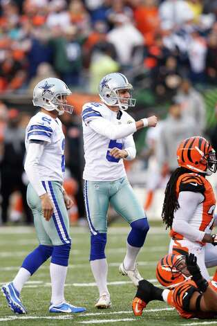 Dan Bailey #5 of the Dallas Cowboys celebrates after kicking a 40-yard field goal to win the game against the Cincinnati Bengals at Paul Brown Stadium on December 9, 2012 in Cincinnati, Ohio. Dallas won 20-19. Photo: Joe Robbins, Getty Images / 2012 Getty Images