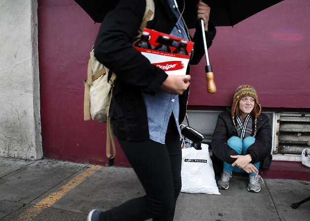 Brittney Ames says having a cell phone would help her respond to calls back from restaurants she's applied to. Photo: Carlos Avila Gonzalez, The Chronicle / SF