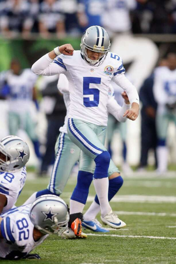 Dan Bailey #5 of the Dallas Cowboys celebrates a game-winning field goal during the game against the Cincinnati Bengals at Paul Brown Stadium on December 9, 2012 in Cincinnati, Ohio.  The Cowboys defeated the Bengals 20-19. Photo: John Grieshop, Getty Images / 2012 Getty Images