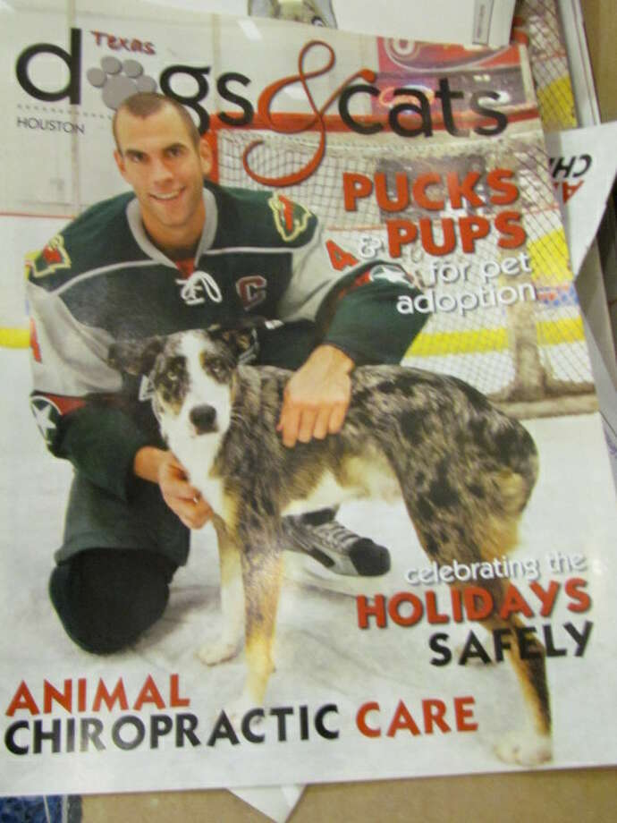 Aeros captain Drew Bagnall on the cover of Texas dogs & cats magazine. (Mike Damante)