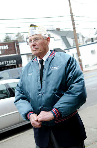World War II Army veteran Fred Drenckhahn, 86, participates in the Pearl Harbor Remembered at the Springdale monument on Hope Street in Stamford on Sunday, Dec. 9, 2012. Drenckhahn served in the U.S. Army in Germany from 1944-1946. Photo: Amy Mortensen / Connecticut Post Freelance