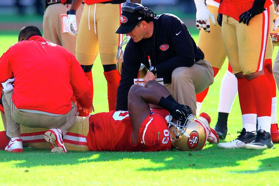 Tight end Demarcus Dobbs (83) is down in the first quarter of the San Francisco 49ers game against the Miami Dolphins at Candlestick Park in San Francisco, Calif., on Sunday December 9, 2012. Photo: Brant Ward, The Chronicle / ONLINE_YES