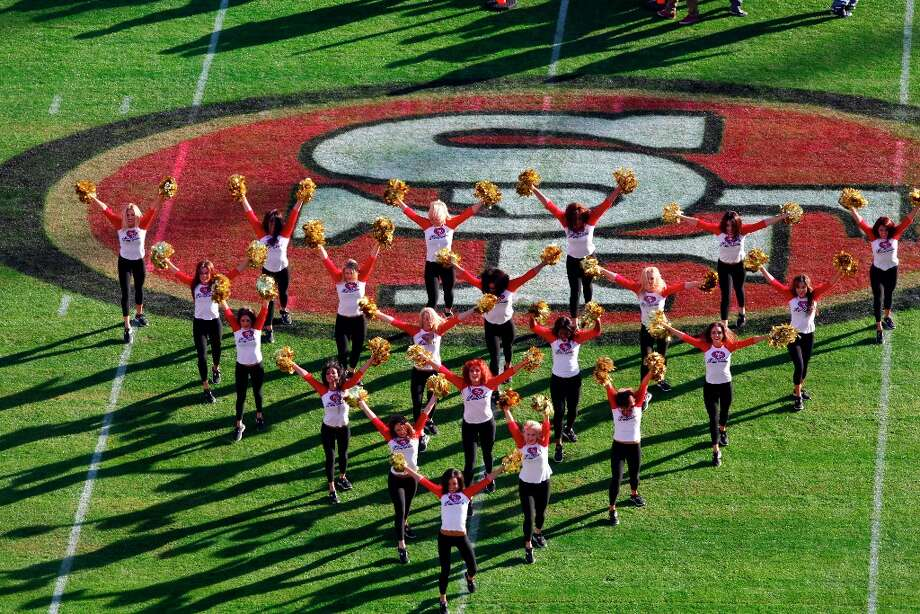 49ers Gold Rush Cheerleaders warm up before the San Francisco 49ers game against the Miami Dolphins at Candlestick Park in San Francisco, Calif., on Sunday December 9, 2012. Photo: Carlos Avila Gonzalez, The Chronicle / ONLINE_YES