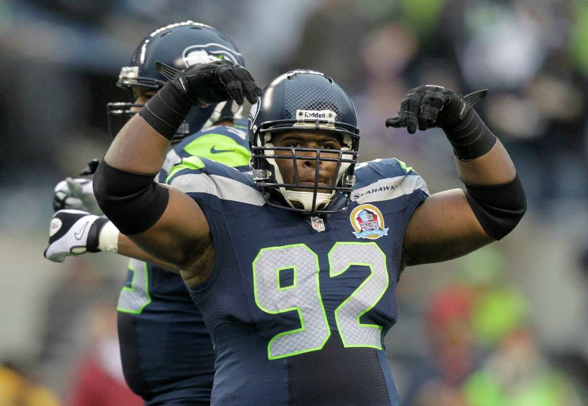 Seattle Seahawks defensive tackle Brandon Mebane (92) celebrates against the Arizona Cardinals during the first half of an NFL football game in Seattle, Sunday, Dec. 9, 2012.
